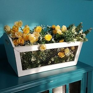 Farmhouse crate with fake flowers
